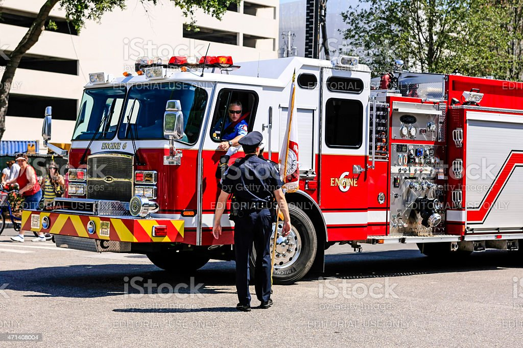 Fire truck in downtown Sarasota stock photo