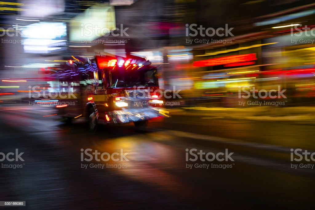 Fire truck in the night stock photo