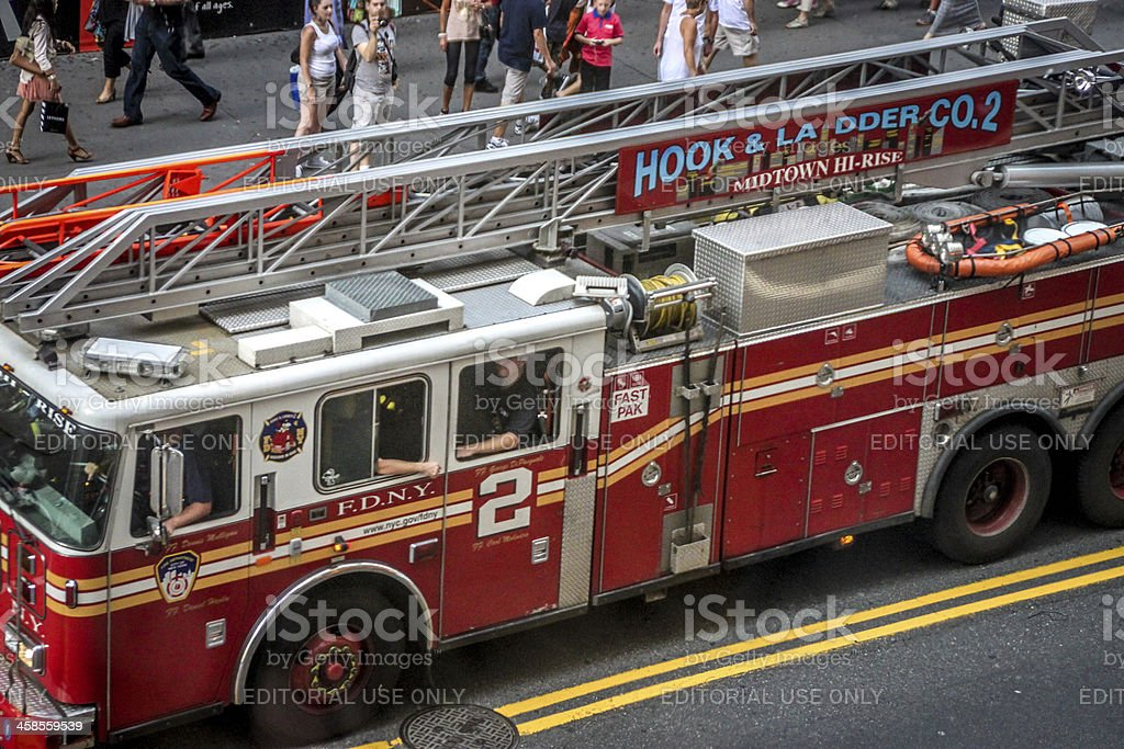 Fire truck in Times Square, New York royalty-free stock photo