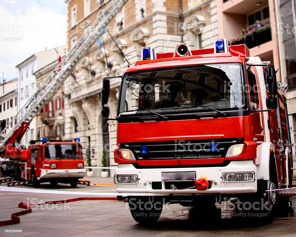 Fire Truck on Scene stock photo