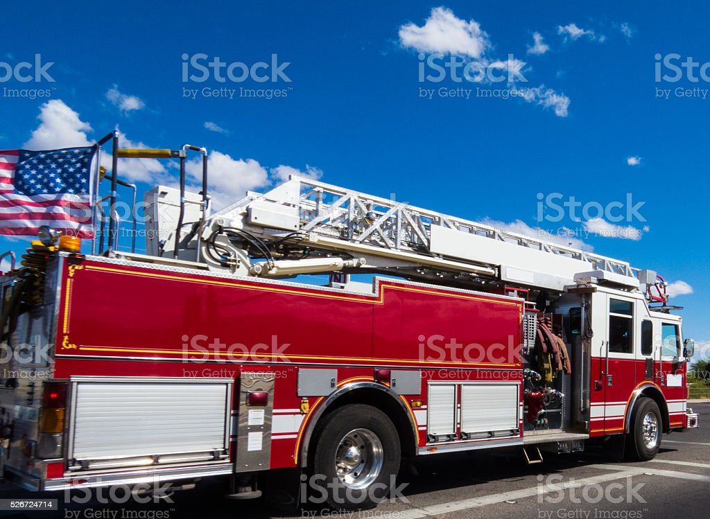 Fire Truck on the Move stock photo