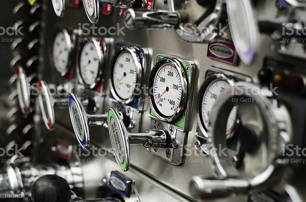 Fire truck pump panel stock photo