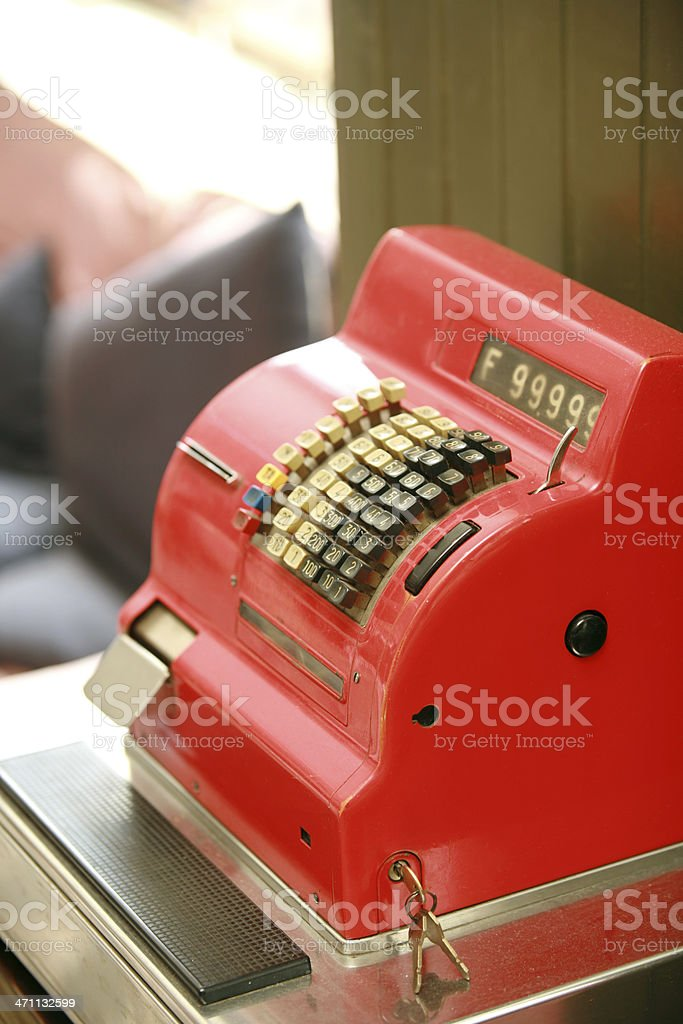 A fire truck red, vintage cash register stock photo