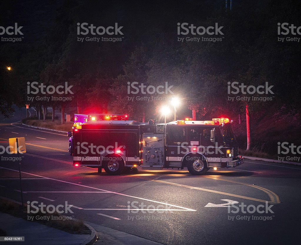 Fire Truck with Paramedic stock photo