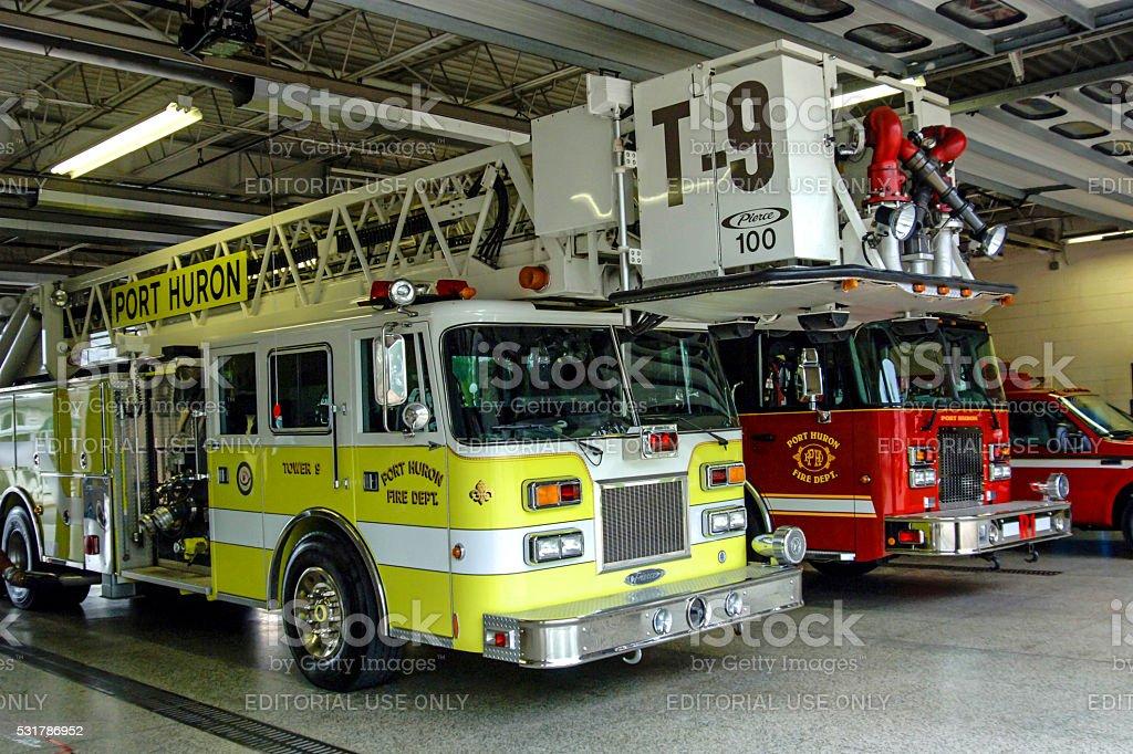 Fire trucks in the Port Huron Firestation, Michigan stock photo