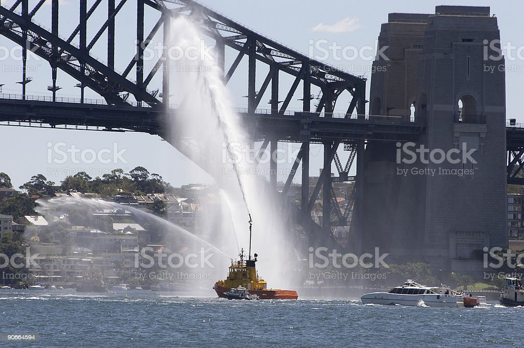 Fire Tug on Sydney Harbour royalty-free stock photo