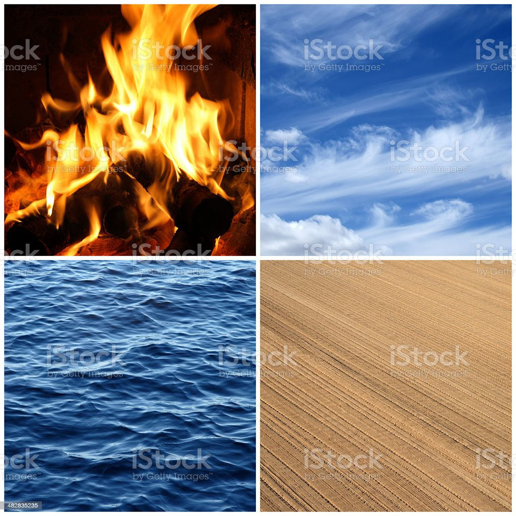 Fire, water, air, earth. Four elements. stock photo