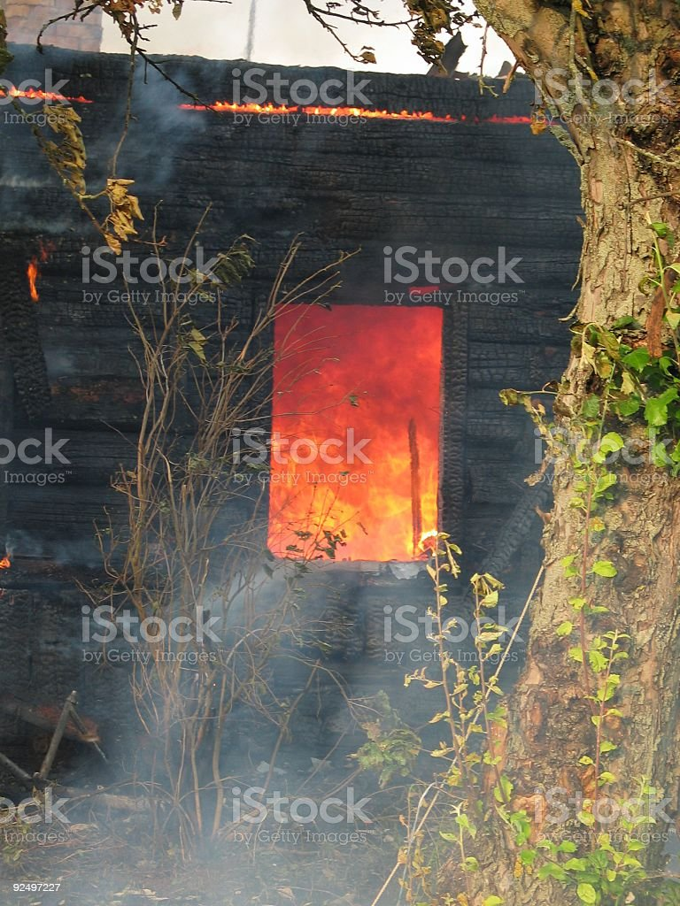 Fire window royalty-free stock photo