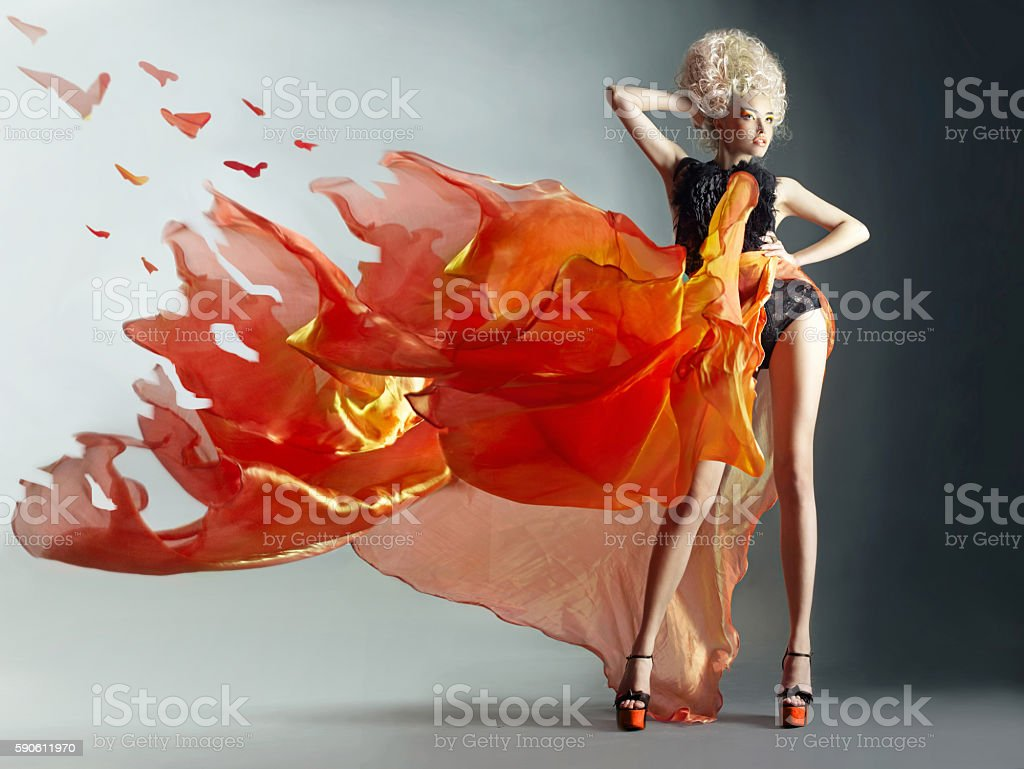 Fire woman stock photo