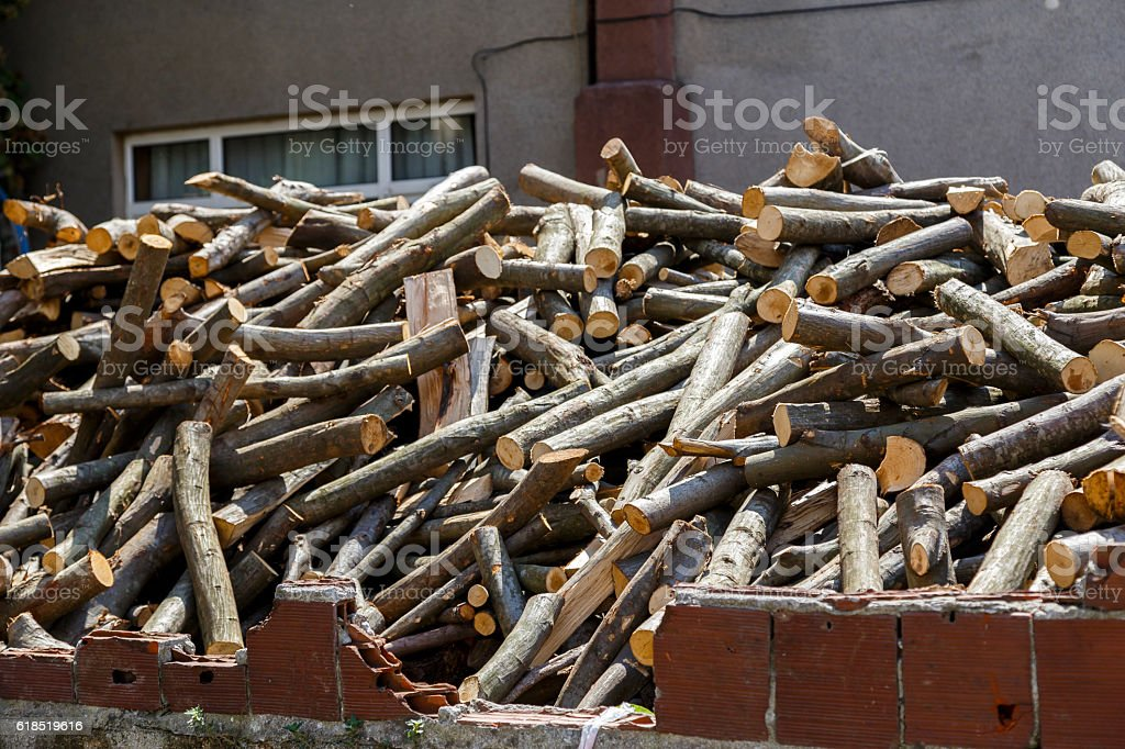 Fire wood stock for winter stock photo