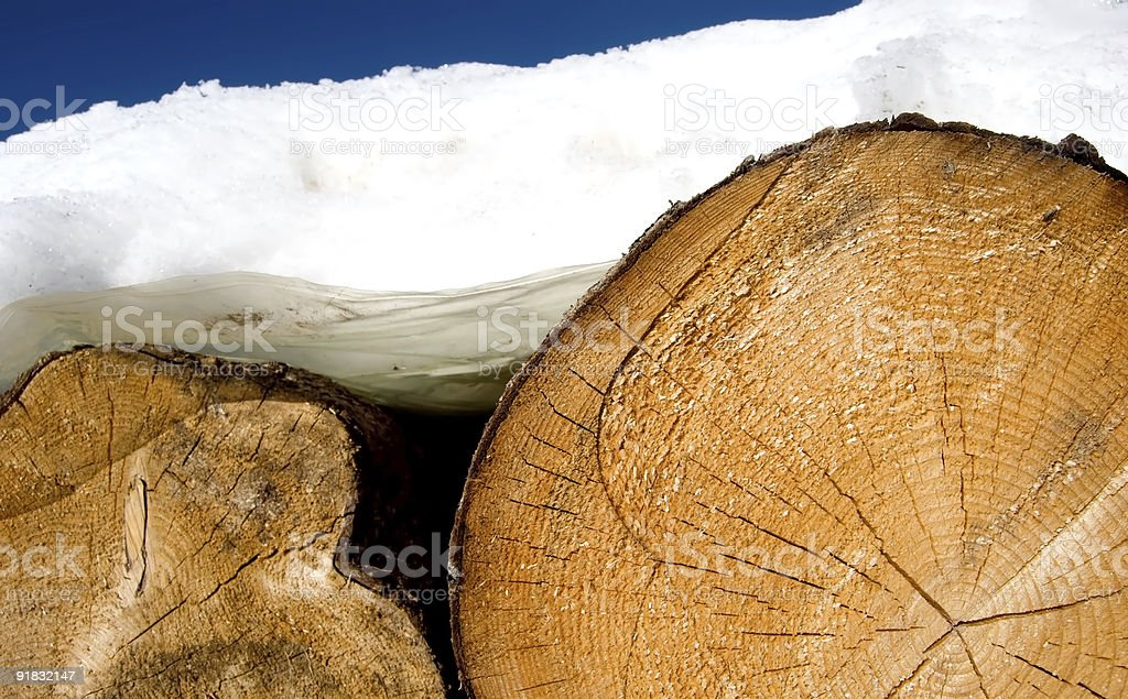 Fire wood under the snow royalty-free stock photo