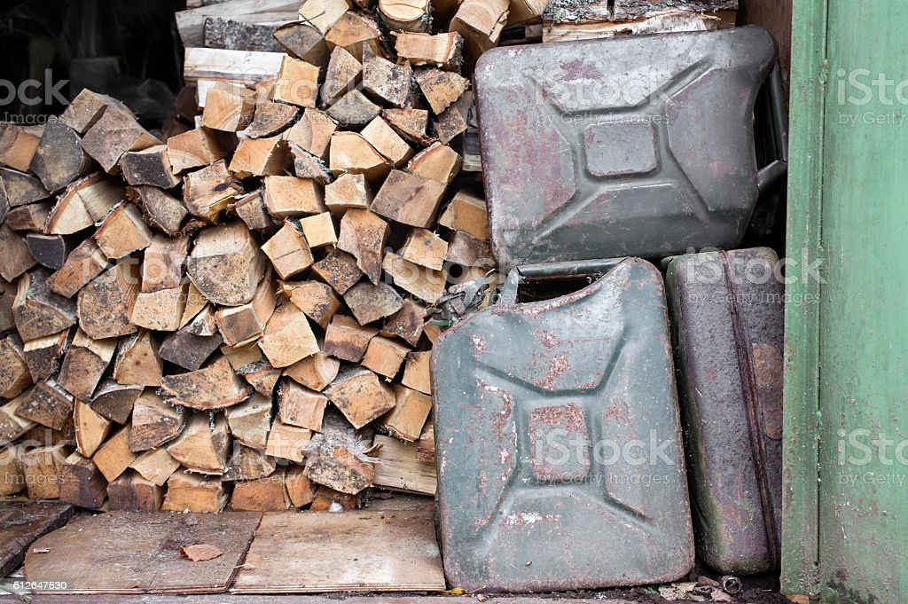 Fire Woods And Jerrycans stock photo