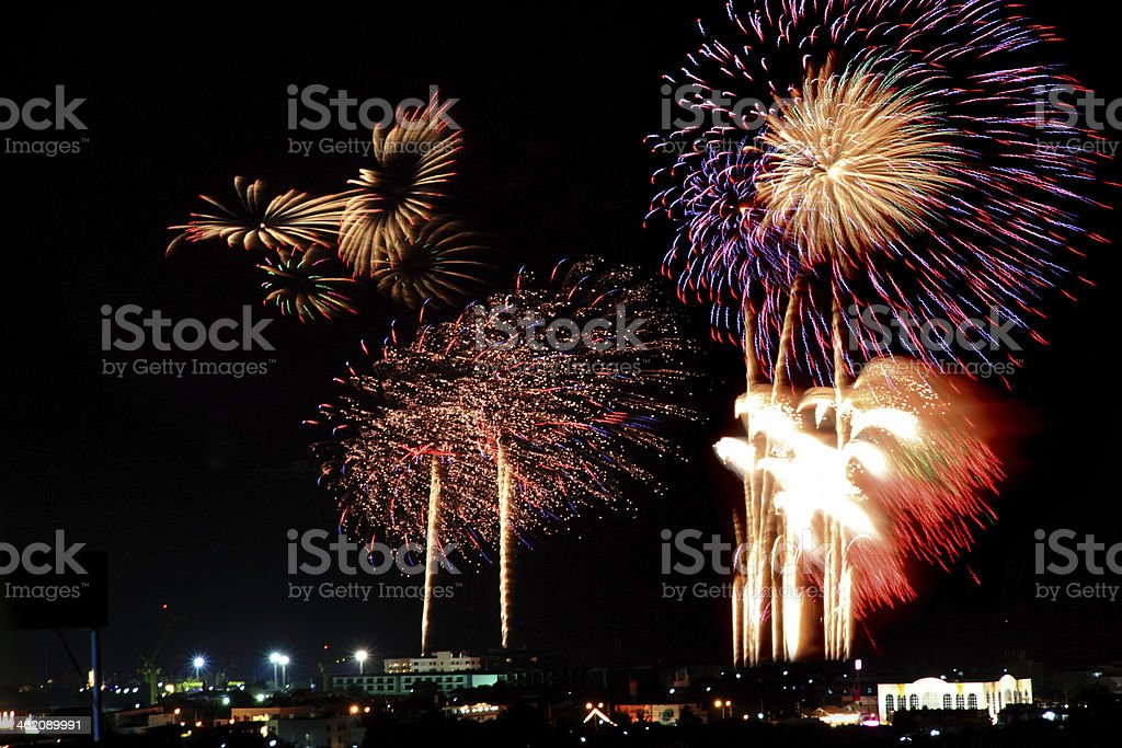 Fire work a Finale at night stock photo
