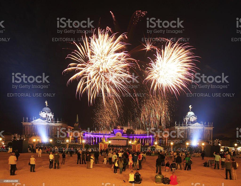 Fire Work above New Palace, Potsdam stock photo