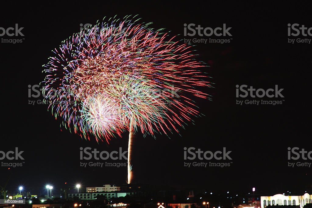 Fire work tree color stock photo