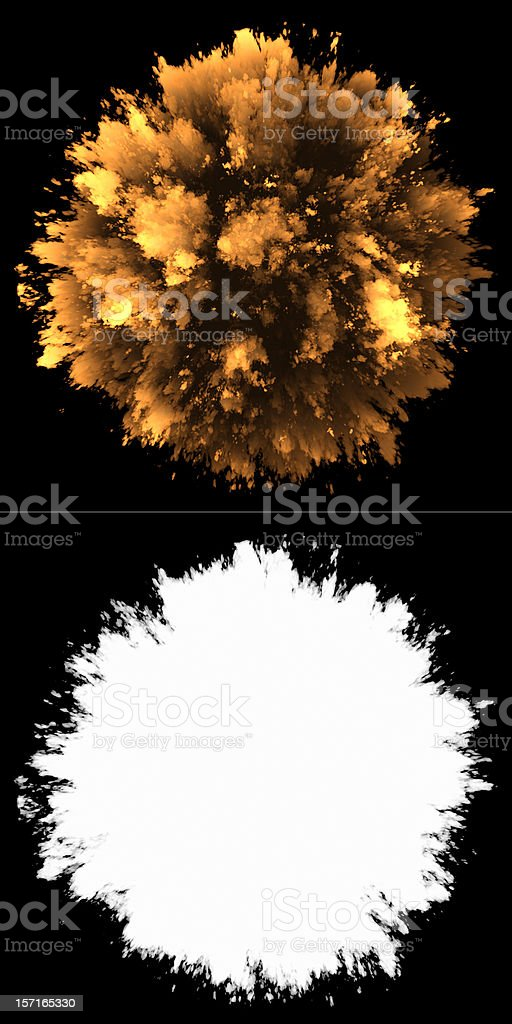 Fireball and its outline bursting on a black background stock photo