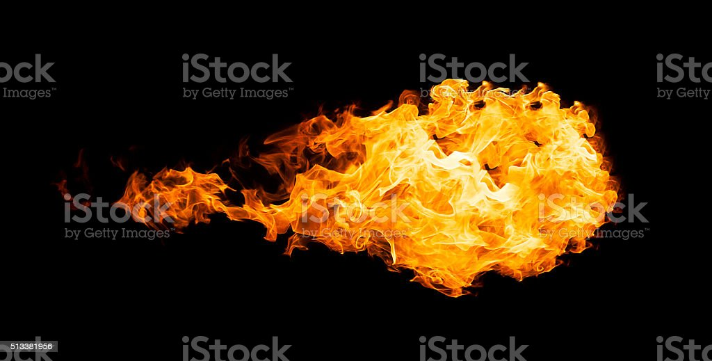 Fireball isolated on black stock photo