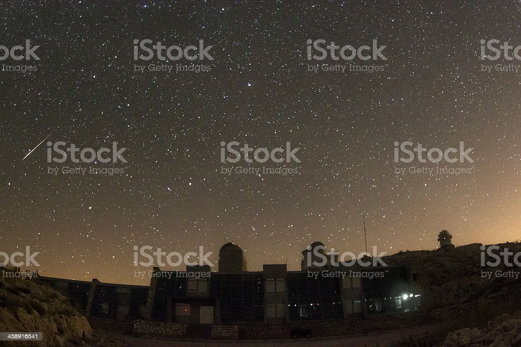 Fireball over an observatory royalty-free stock photo