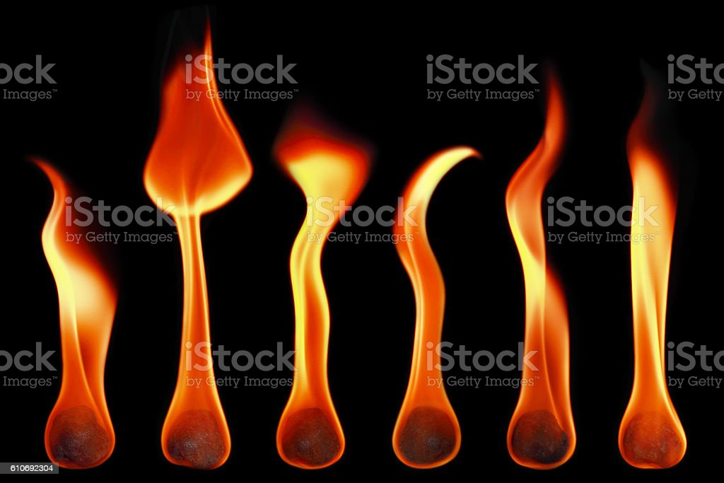 fireballs and flames isolated on black stock photo