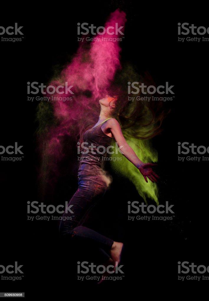 Fire-breathing in the dark angel stock photo