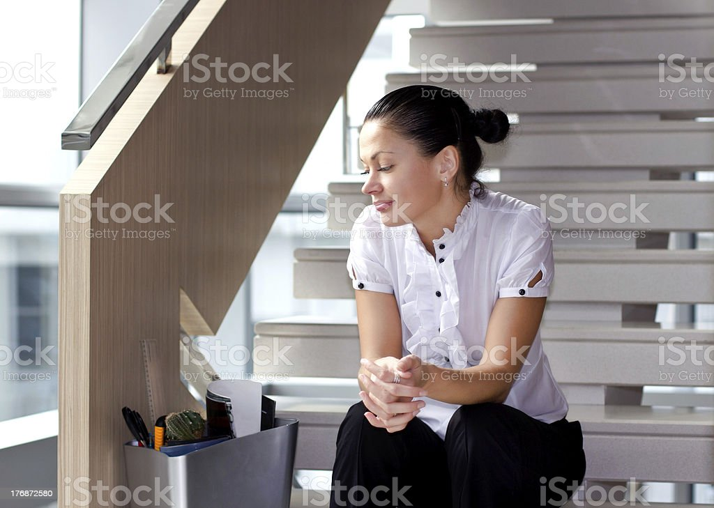 Fired female employee stock photo