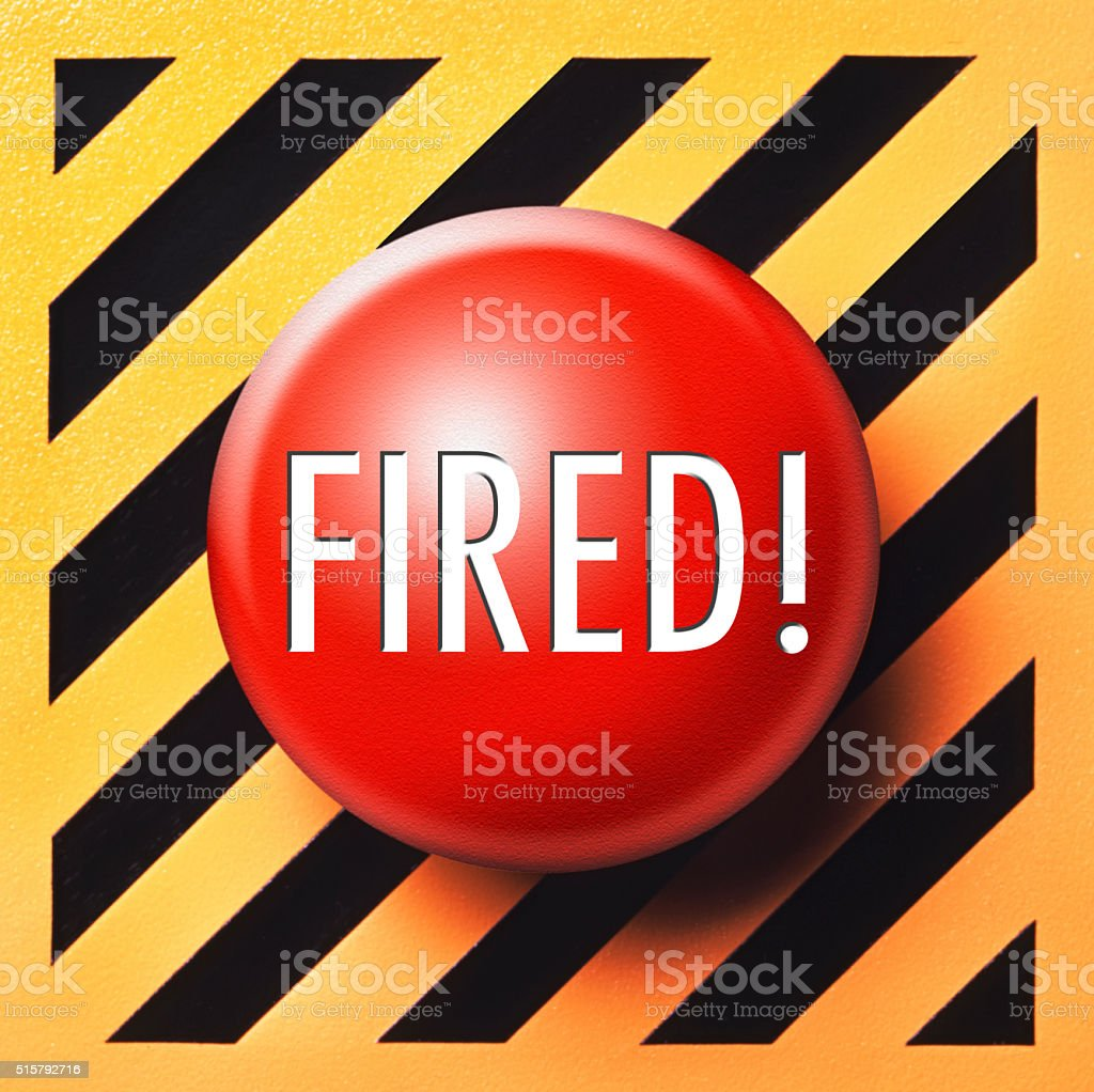 Fired! push button in red stock photo