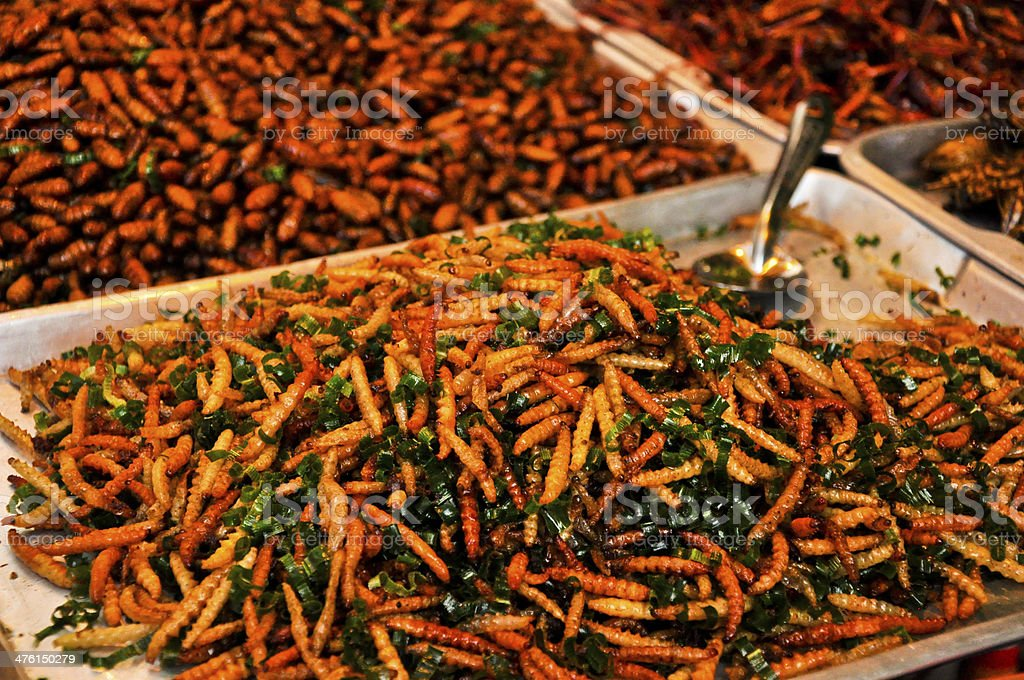 fired silk worm as snack in Thailand royalty-free stock photo
