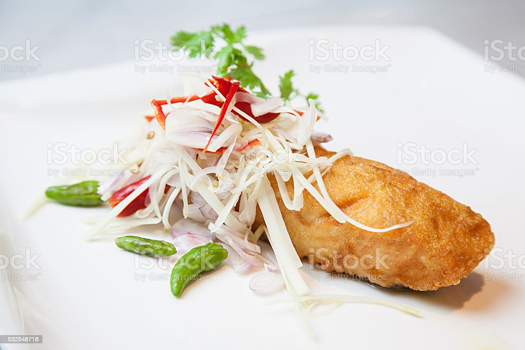 Fired Snapper fish with fishsource stock photo