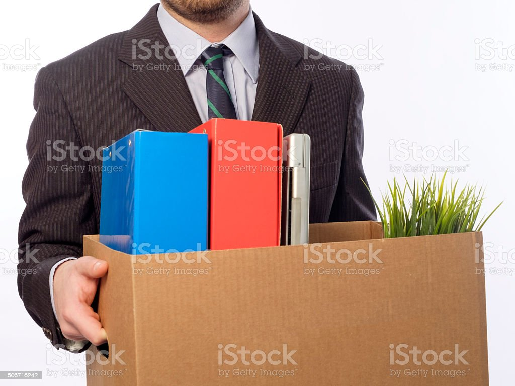 Fired worker white background stock photo