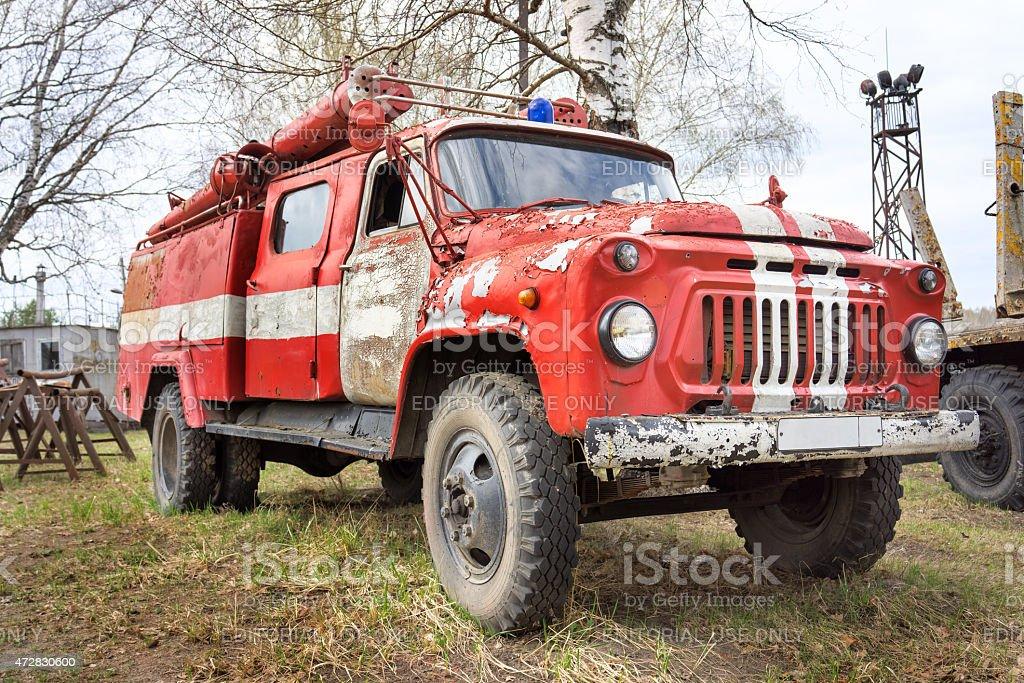 Fire-engine retro Soviet car ZIL-130 (Lichacheva the Car Plant) stock photo
