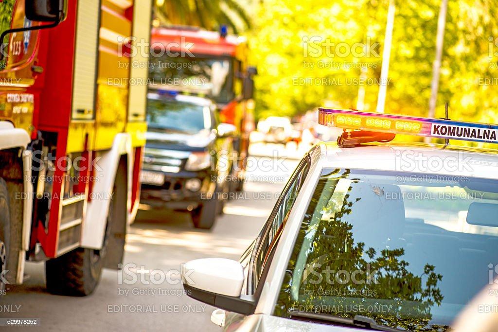Firefigher Emergency car blinker lights stock photo