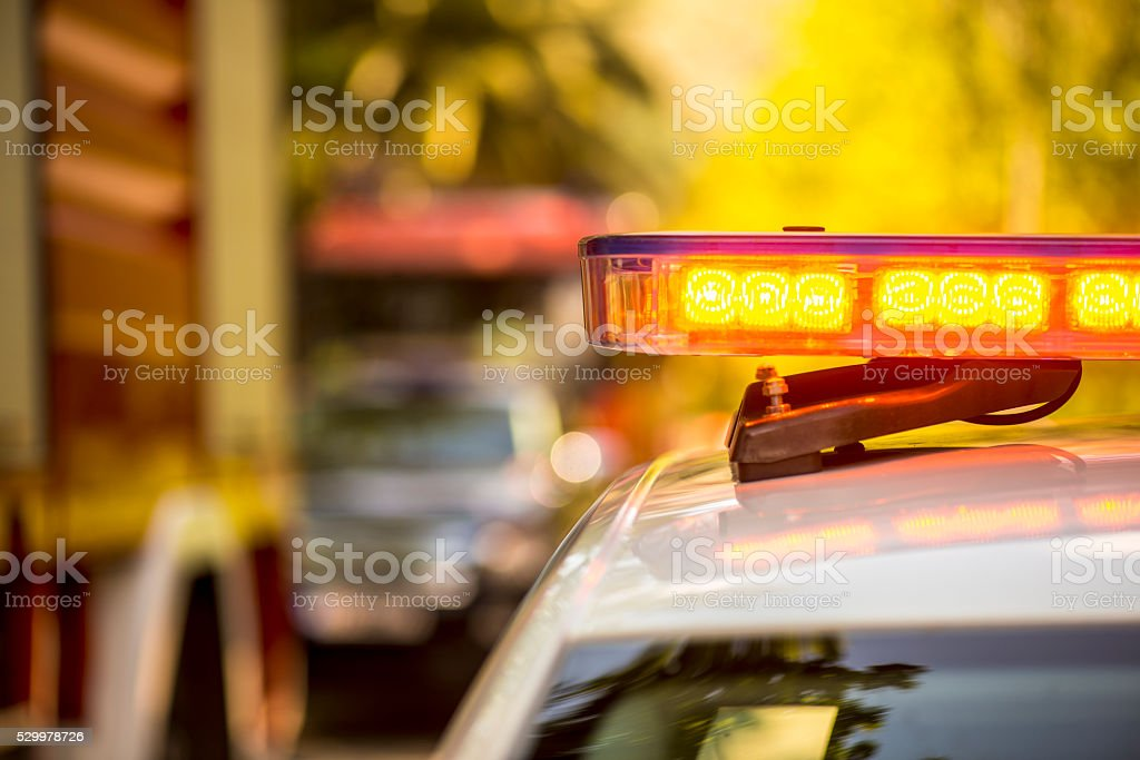 Firefigher Emergency car blinker lights stock photo