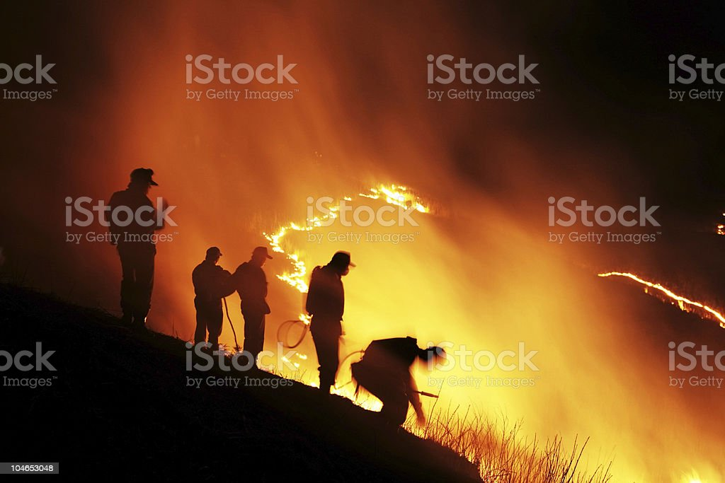 Firefighter at work stock photo