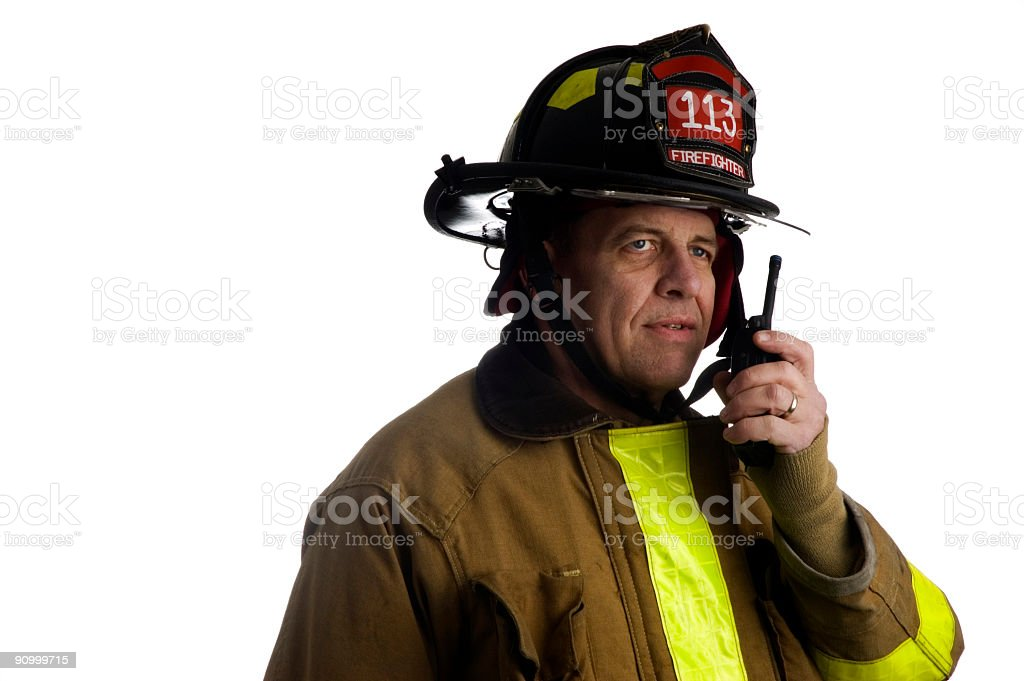 Firefighter calls for back-up stock photo