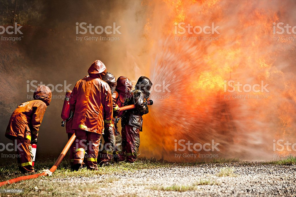 Firefighter during training stock photo