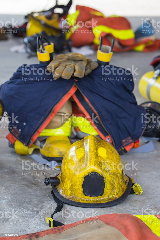 firefighter equipment prepare for operation stock photo