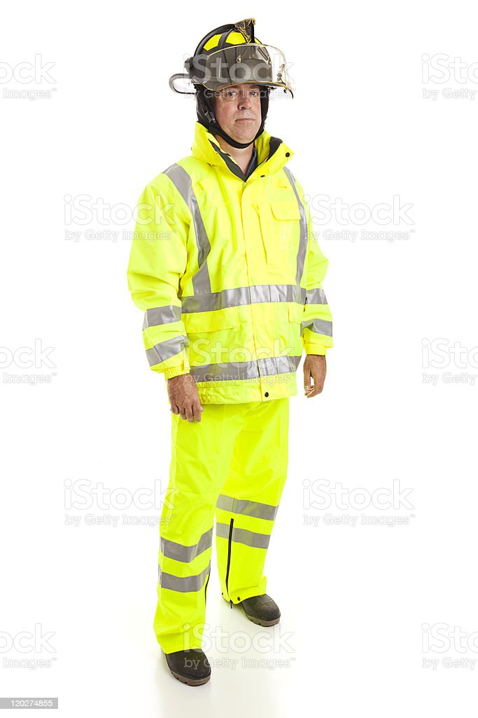 Firefighter Full Body Isolated stock photo