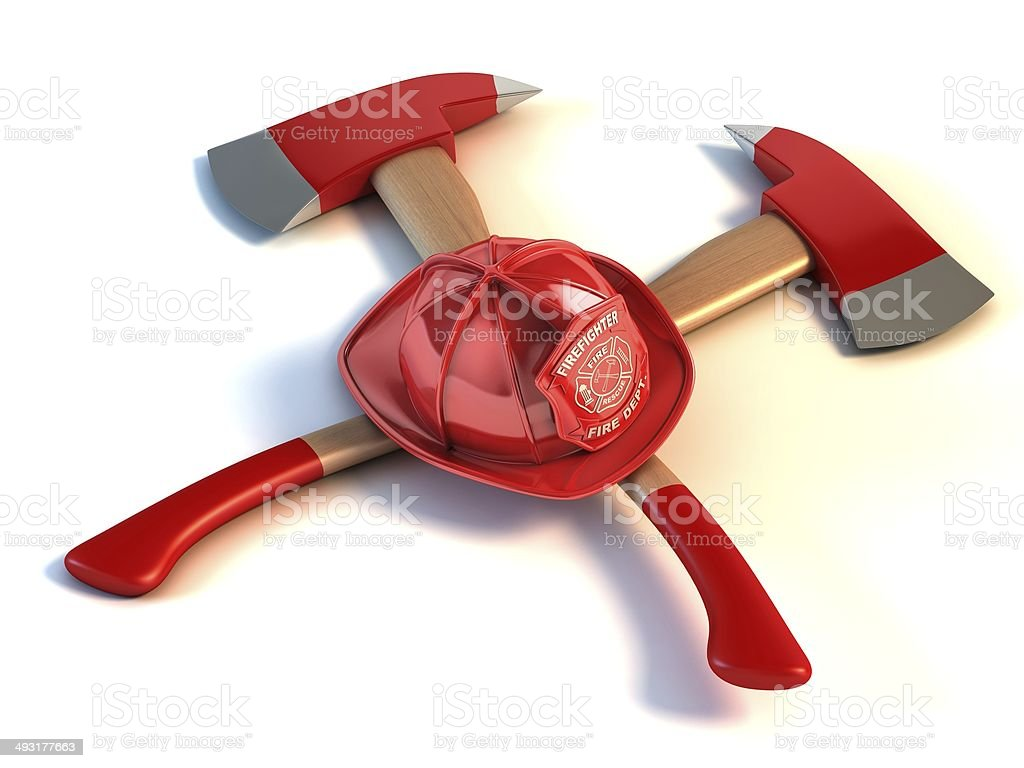 firefighter helmet and axes stock photo