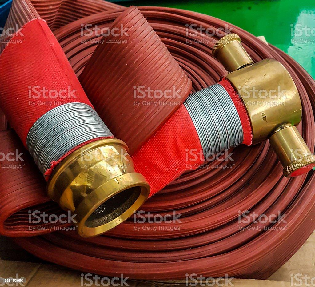 firefighter hose stock photo