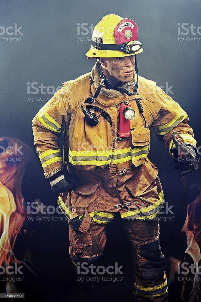 Firefighter in the Smoke stock photo