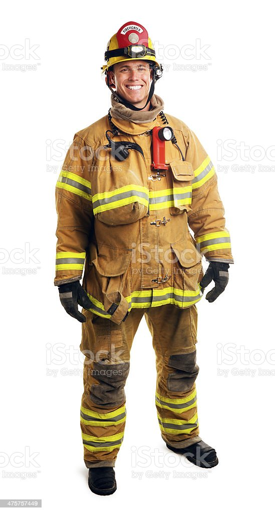 Firefighter Isolated on White stock photo