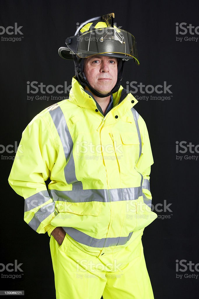Firefighter on Black stock photo