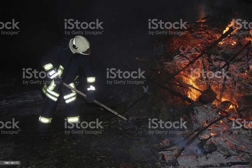 Firefighter on duty royalty-free stock photo