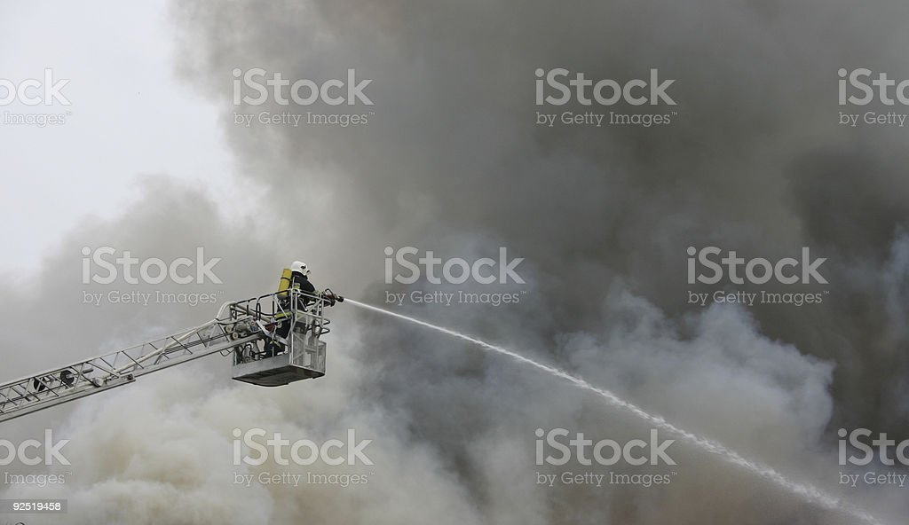 firefighter on duty stock photo
