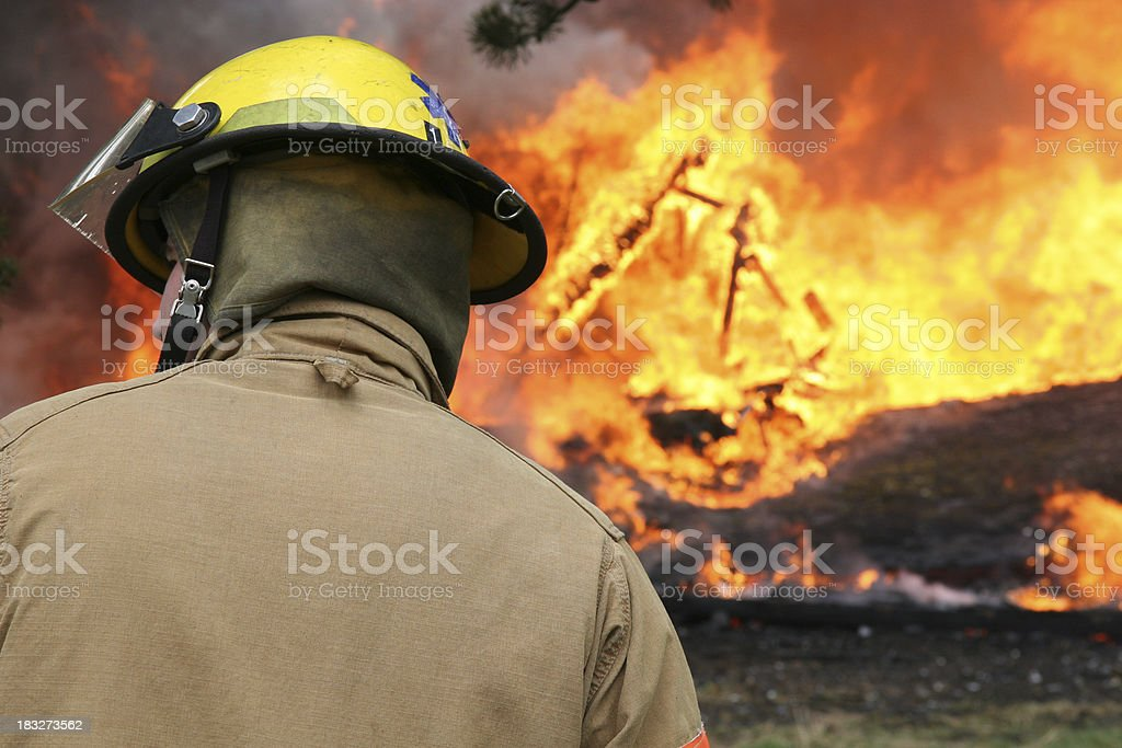 Firefighter on scene royalty-free stock photo