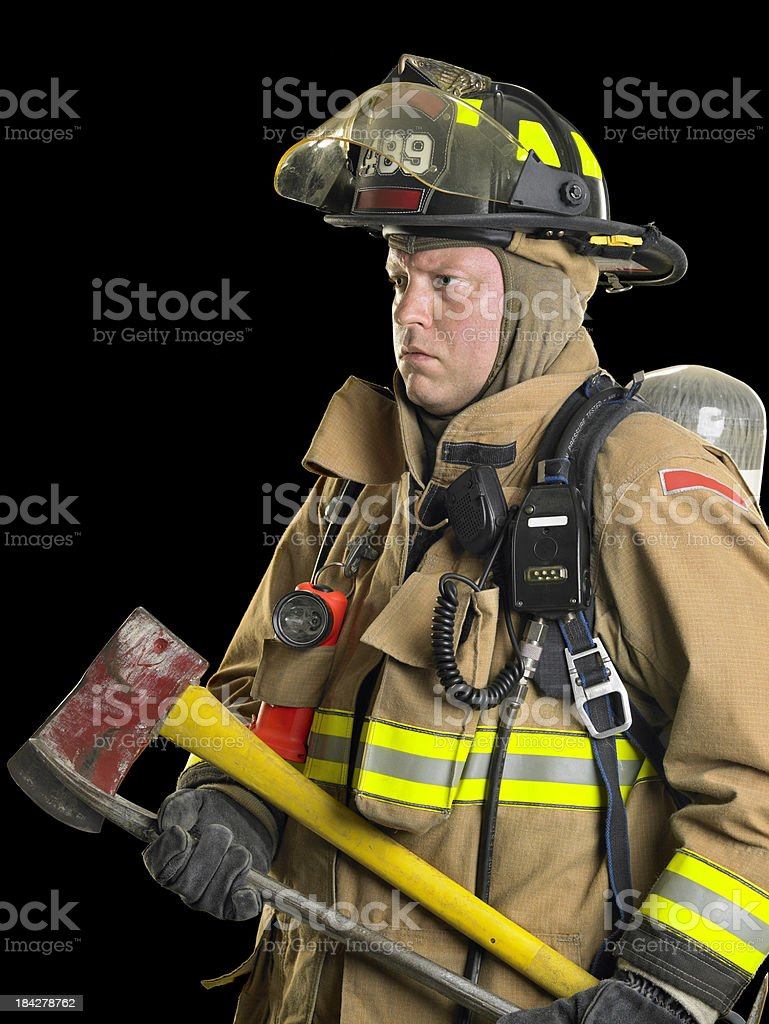 Firefighter with axe stock photo