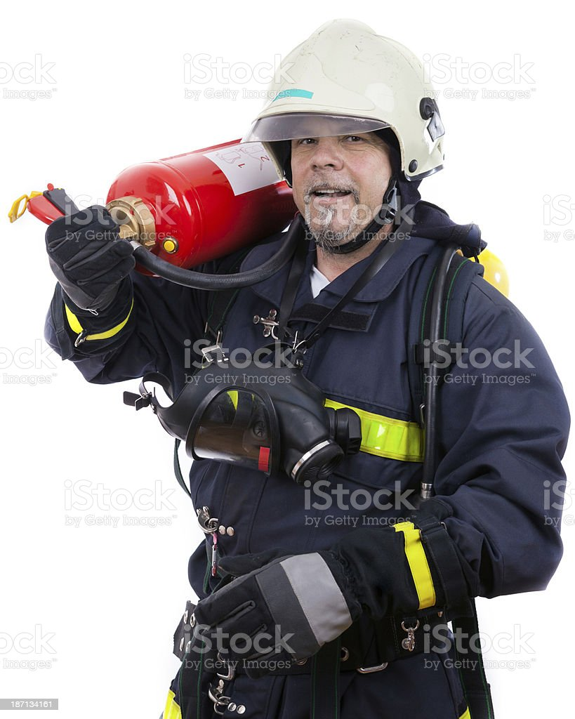 firefighter with extinguisher stock photo