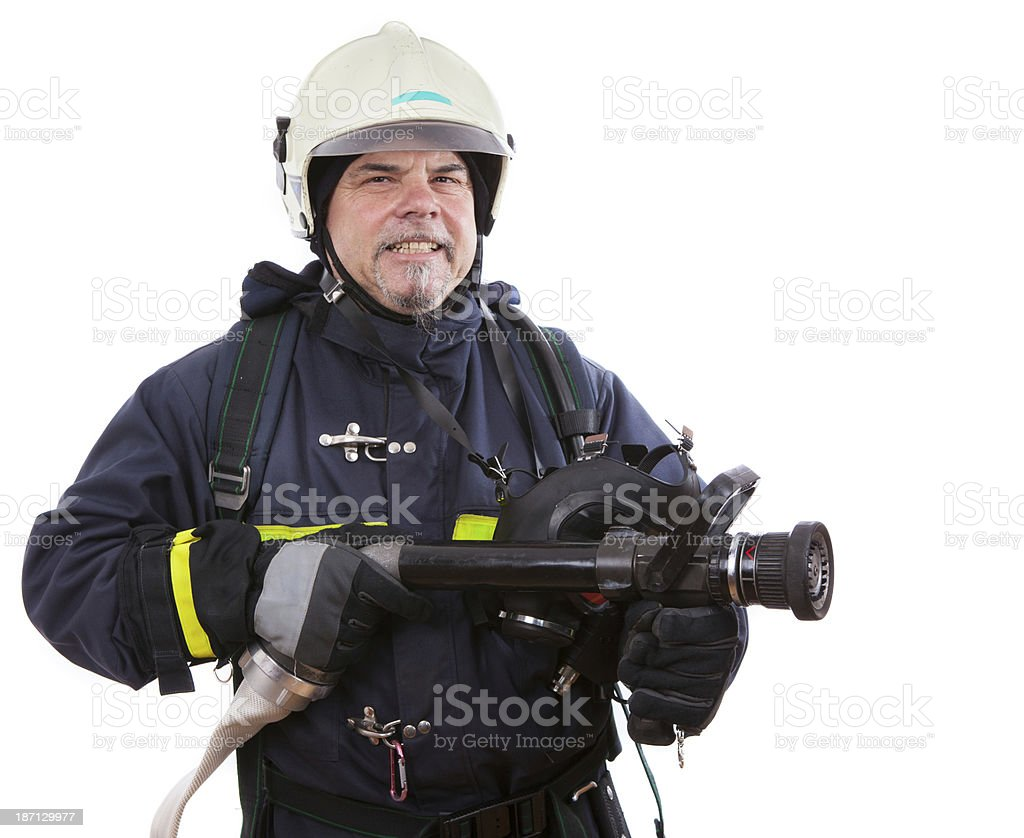 firefighter with oxygen mask and turbojet royalty-free stock photo