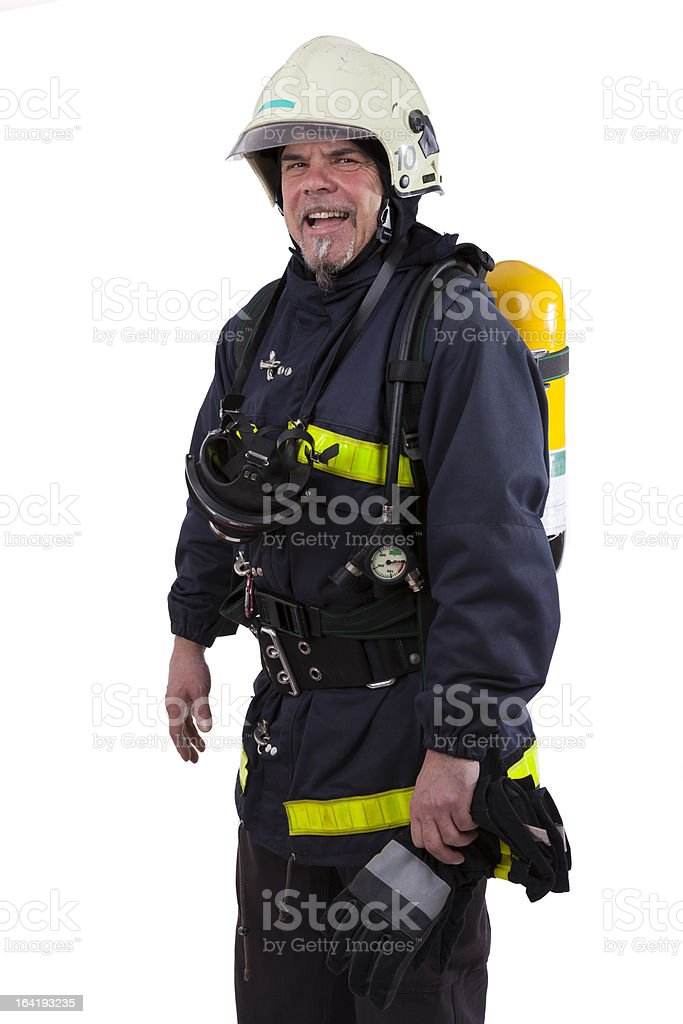 firefighter with oxygen tank and respirator mask stock photo