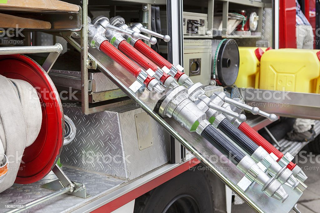 Firefighters equipment - inside a fire truck royalty-free stock photo